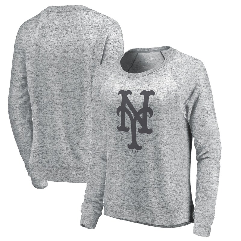 New York Mets Let Loose by RNL Women's Cozy Collection Plush Raglan Tri-Blend Sweatshirt - Ash