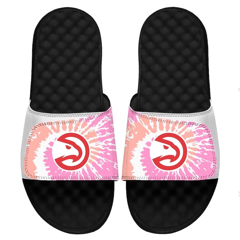 Atlanta Hawks ISlide Girls Youth Pink Tie-Dye Slide Sandals
