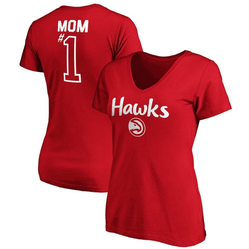 Atlanta Hawks Fanatics Branded Women's #1 Mom Logo V-Neck T-Shirt - Red