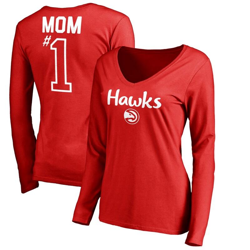 Atlanta Hawks Fanatics Branded Women's #1 Mom Long Sleeve V-Neck T-Shirt - Red
