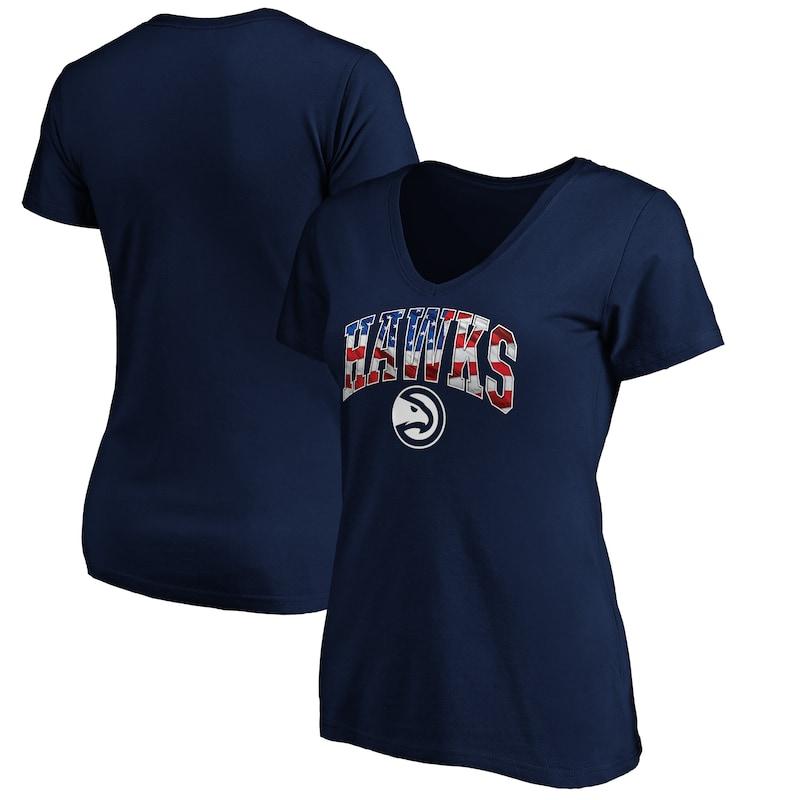 Atlanta Hawks Fanatics Branded Women's Banner Wave V-Neck T-Shirt - Navy