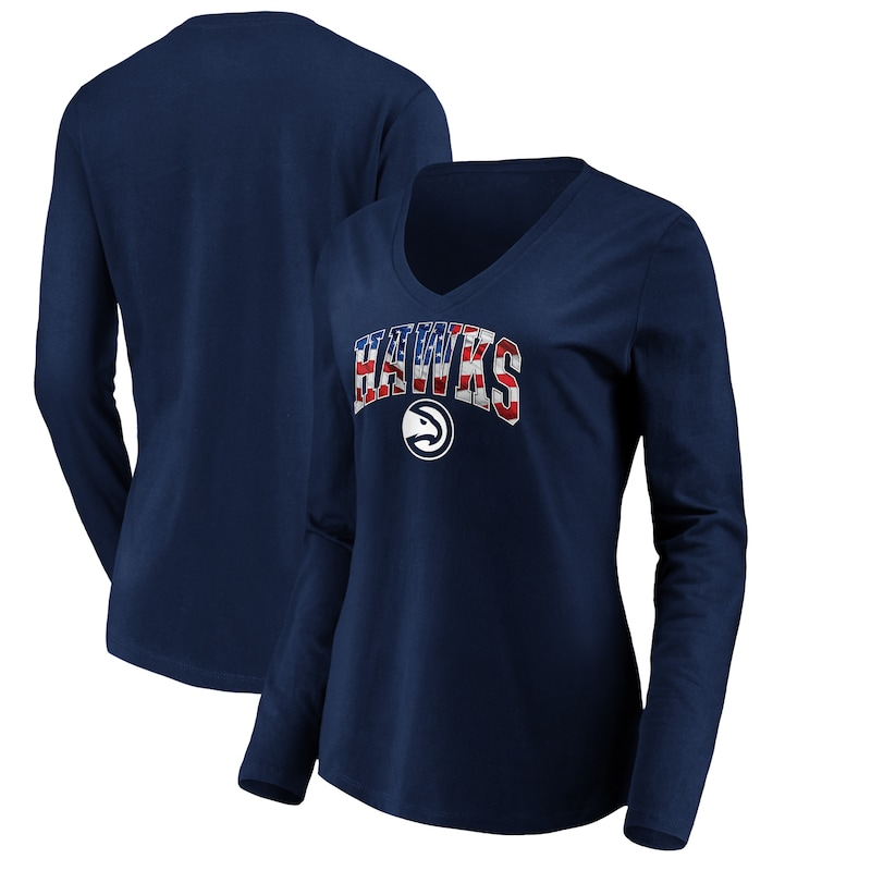 Atlanta Hawks Fanatics Branded Women's Banner Wave V-Neck Long Sleeve T-Shirt - Navy