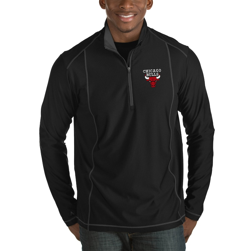 Chicago Bulls Antigua Tempo Big & Tall Half-Zip Pullover Jacket - Black