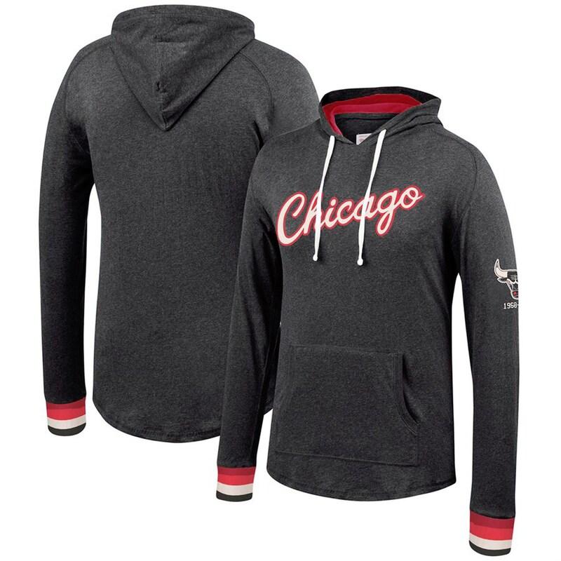 Chicago Bulls Mitchell & Ness Hardwod Classics Striped Cuff Raglan Pullover Hoodie - Black