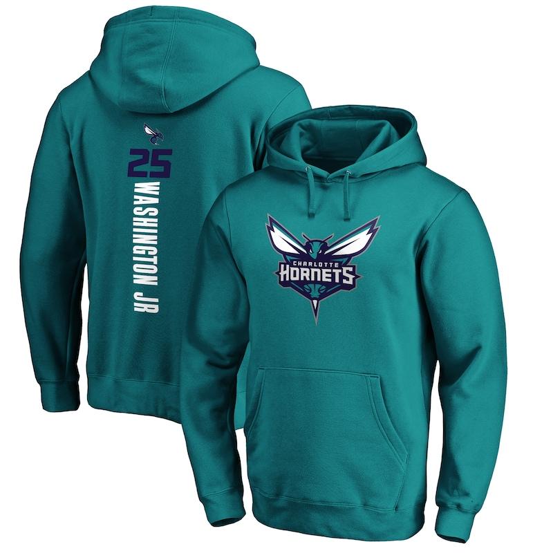 PJ Washington Jr. Charlotte Hornets Fanatics Branded Playmaker Name & Number Pullover Hoodie - Teal