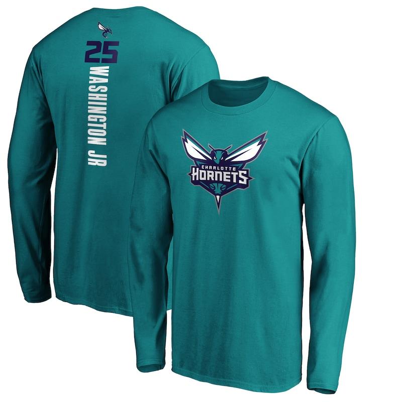 PJ Washington Jr. Charlotte Hornets Fanatics Branded Playmaker Name & Number Long Sleeve T-Shirt - Teal