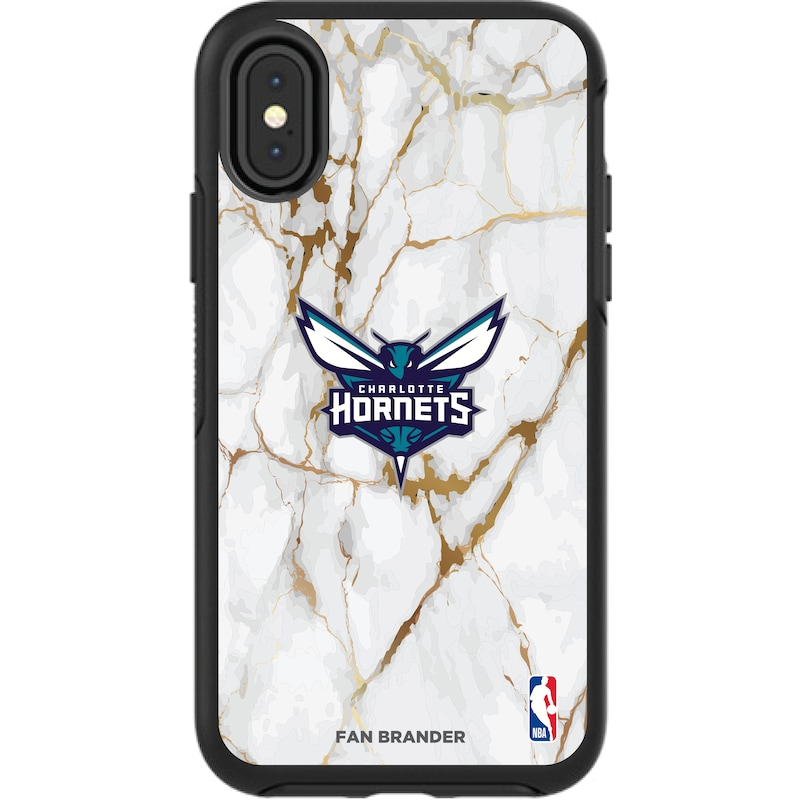 Charlotte Hornets iPhone Symmetry Marble Case - Black