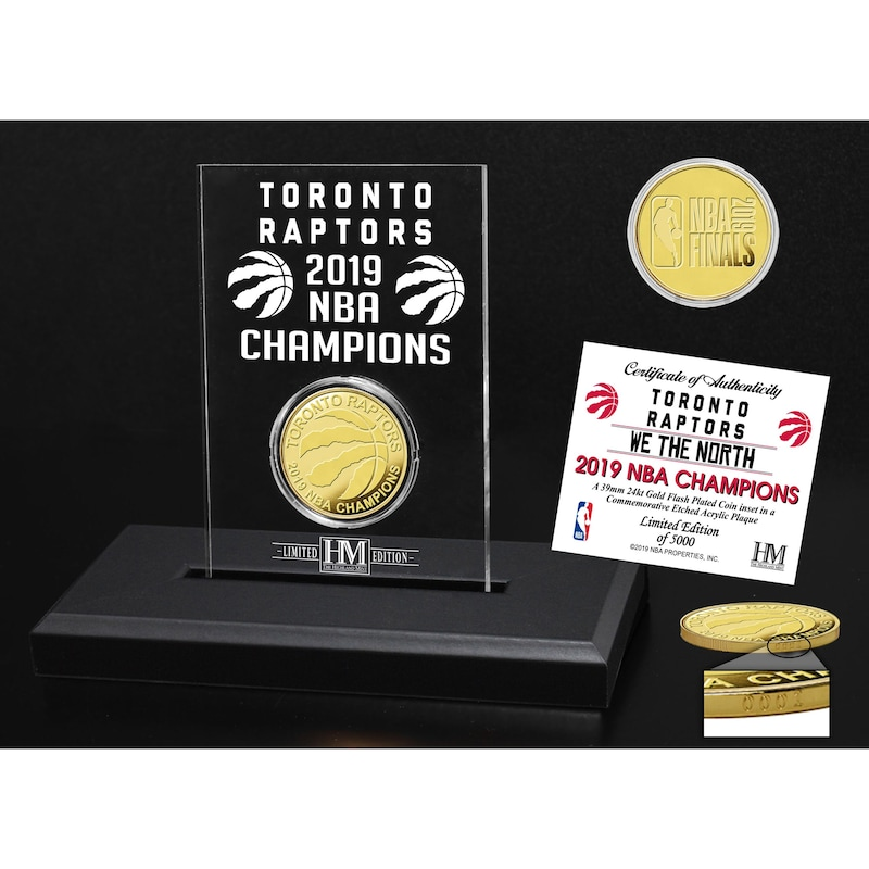Toronto Raptors Highland Mint 2019 NBA Finals Champions 3.5'' x 5'' Gold Coin Etched Acrylic