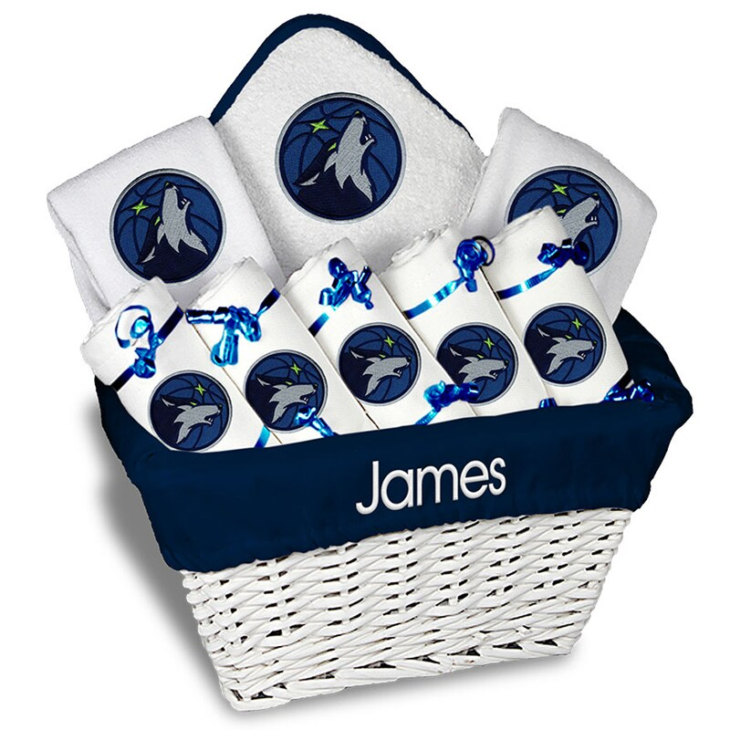 Minnesota Timberwolves Newborn & Infant Personalized Large Gift Basket - White