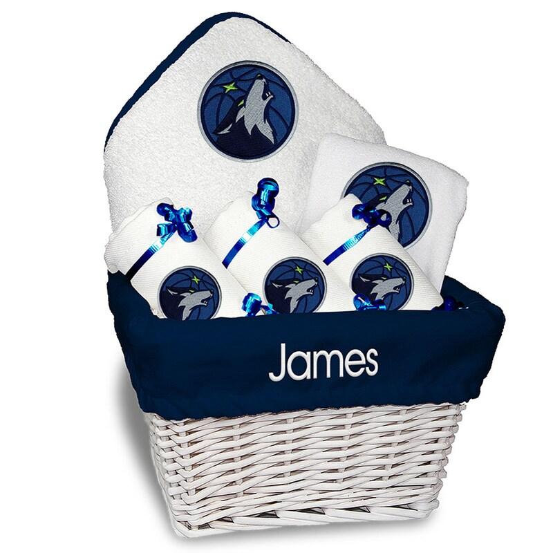 Minnesota Timberwolves Newborn & Infant Personalized Medium Gift Basket - White