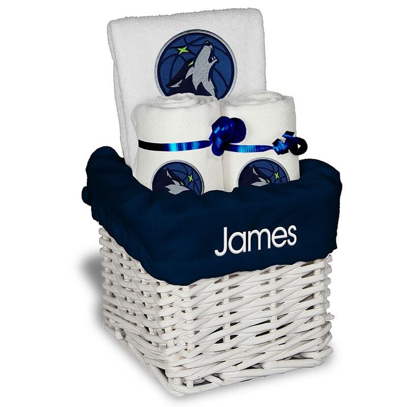 Minnesota Timberwolves Personalized Small Gift Basket - White