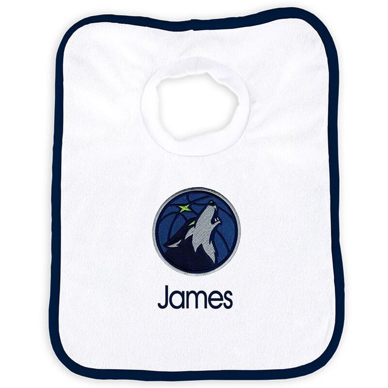 Minnesota Timberwolves Newborn & Infant Personalized Bib - White