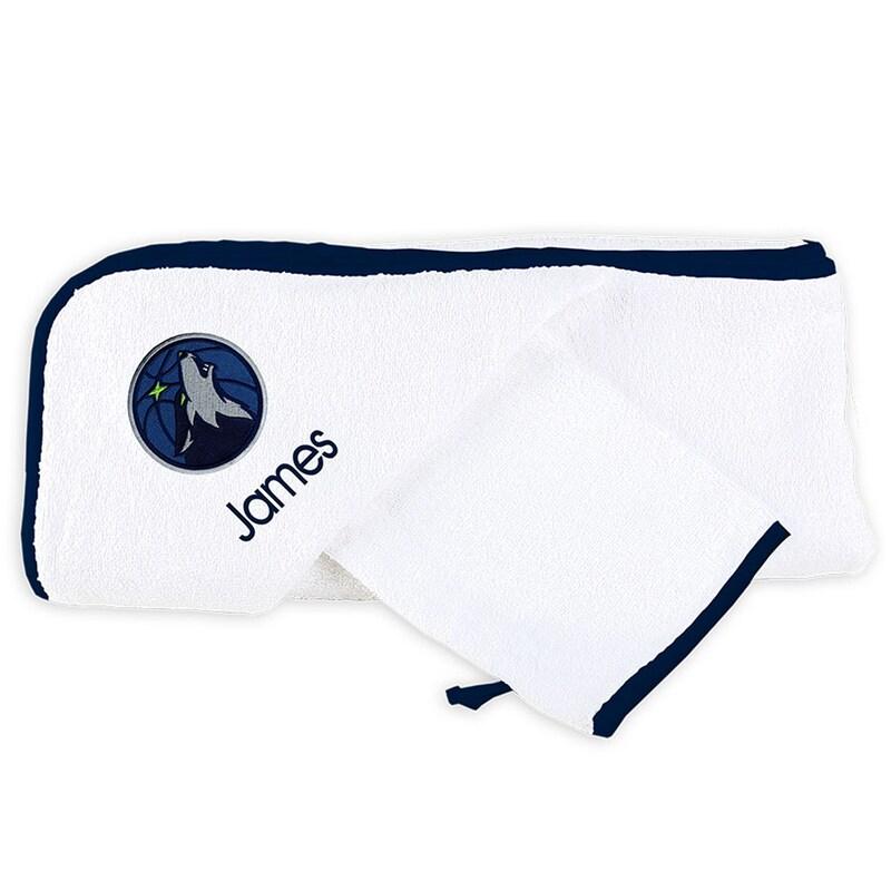 Minnesota Timberwolves Infant Personalized Hooded Towel & Mitt Set - White