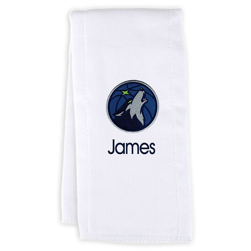 Minnesota Timberwolves Infant Personalized Burp Cloth - White