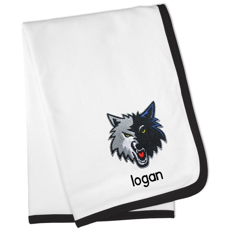 Minnesota Timberwolves Personalized Baby Blanket - White