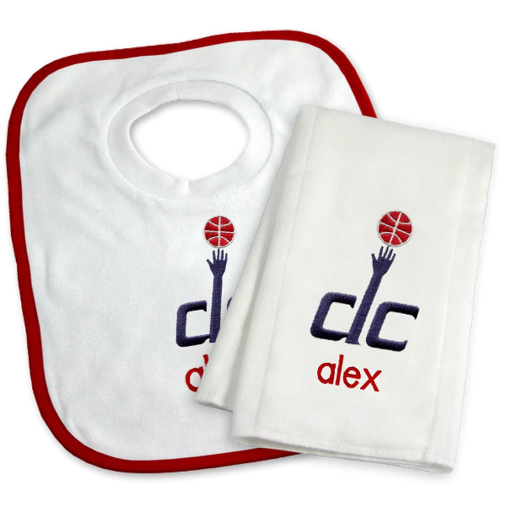 Washington Wizards Newborn & Infant Personalized Bib & Burp Cloth Set - White