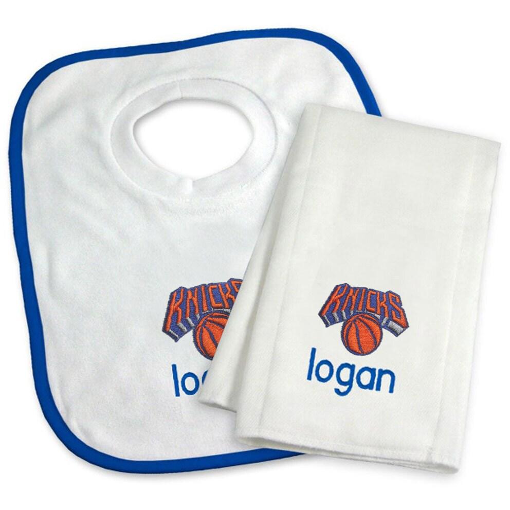 New York Knicks Newborn & Infant Personalized Bib & Burp Cloth Set - White