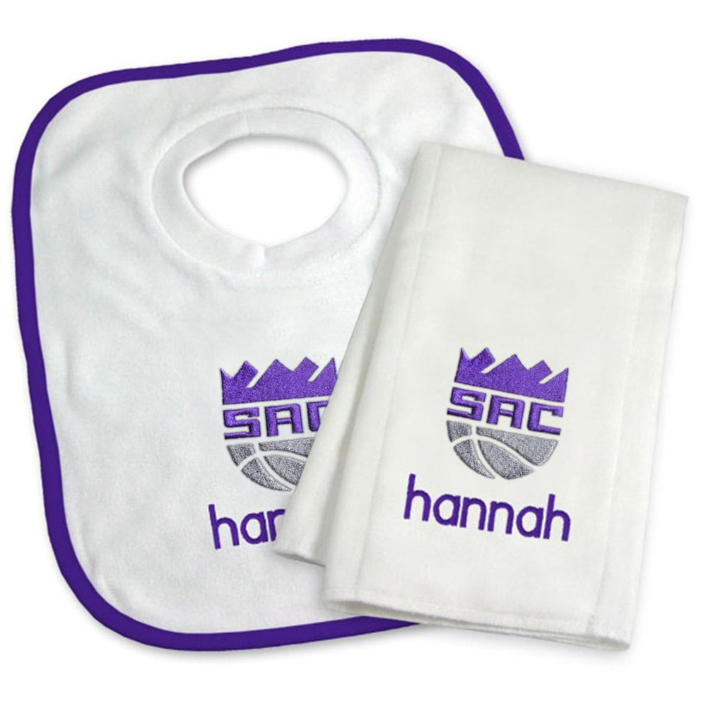 Sacramento Kings Newborn & Infant Personalized Bib & Burp Cloth Set - White