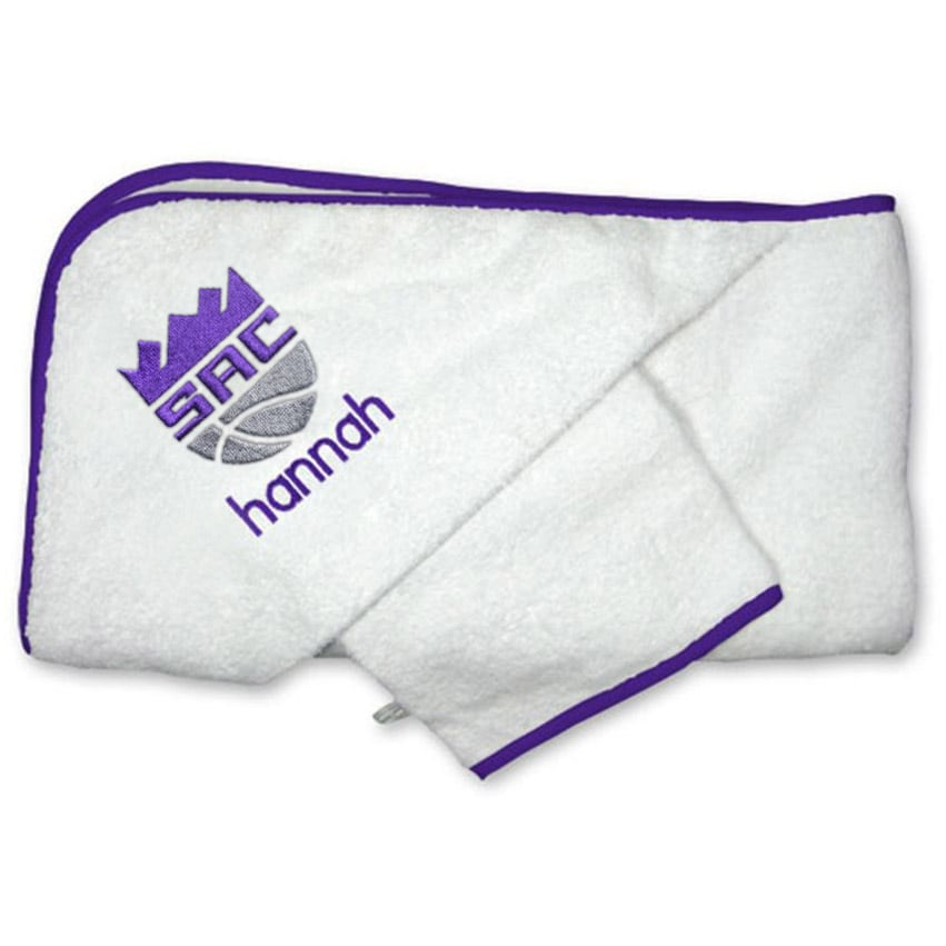 Sacramento Kings Infant Personalized Hooded Towel & Mitt Set - White