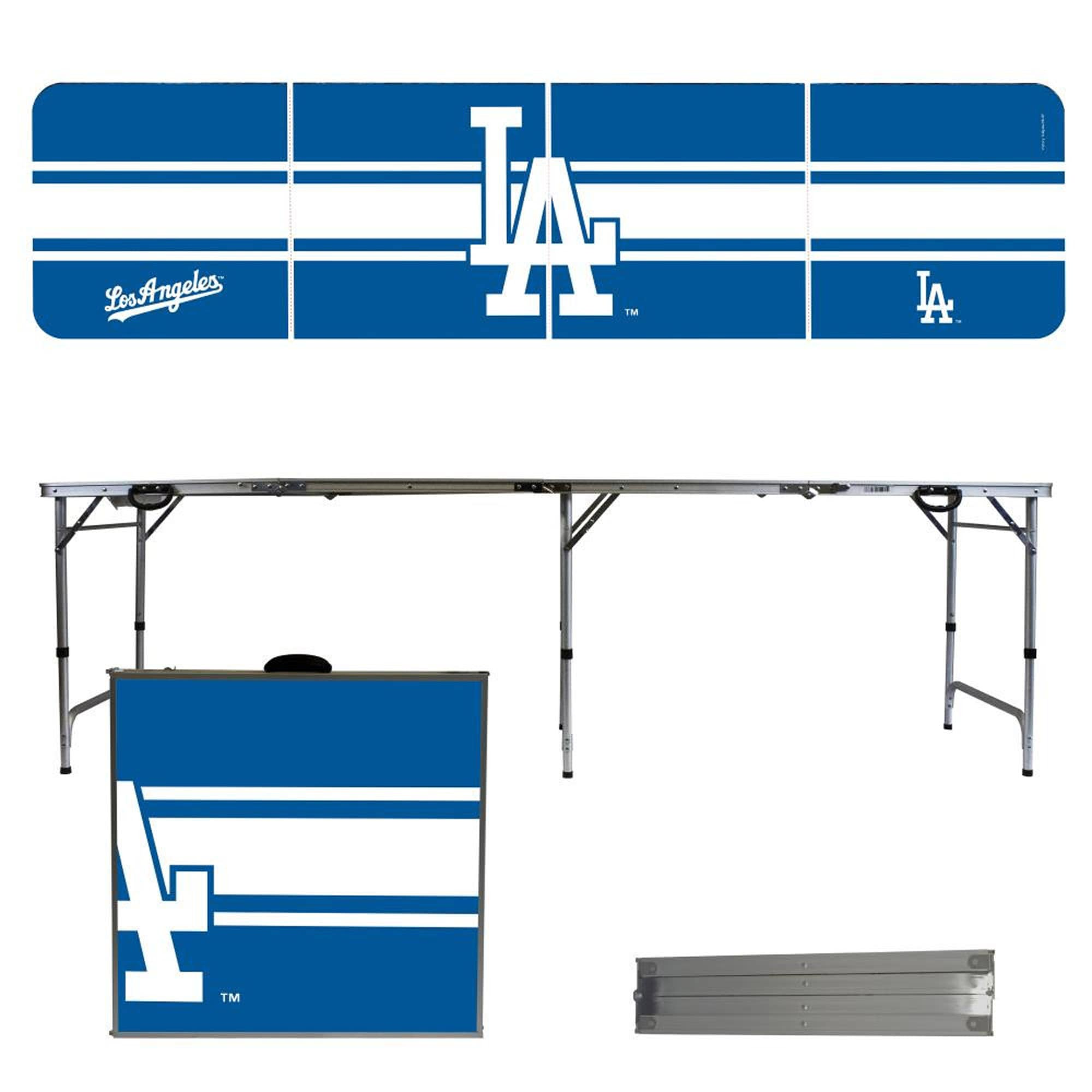 Los Angeles Dodgers Striped Design 8' Portable Folding Tailgate Table