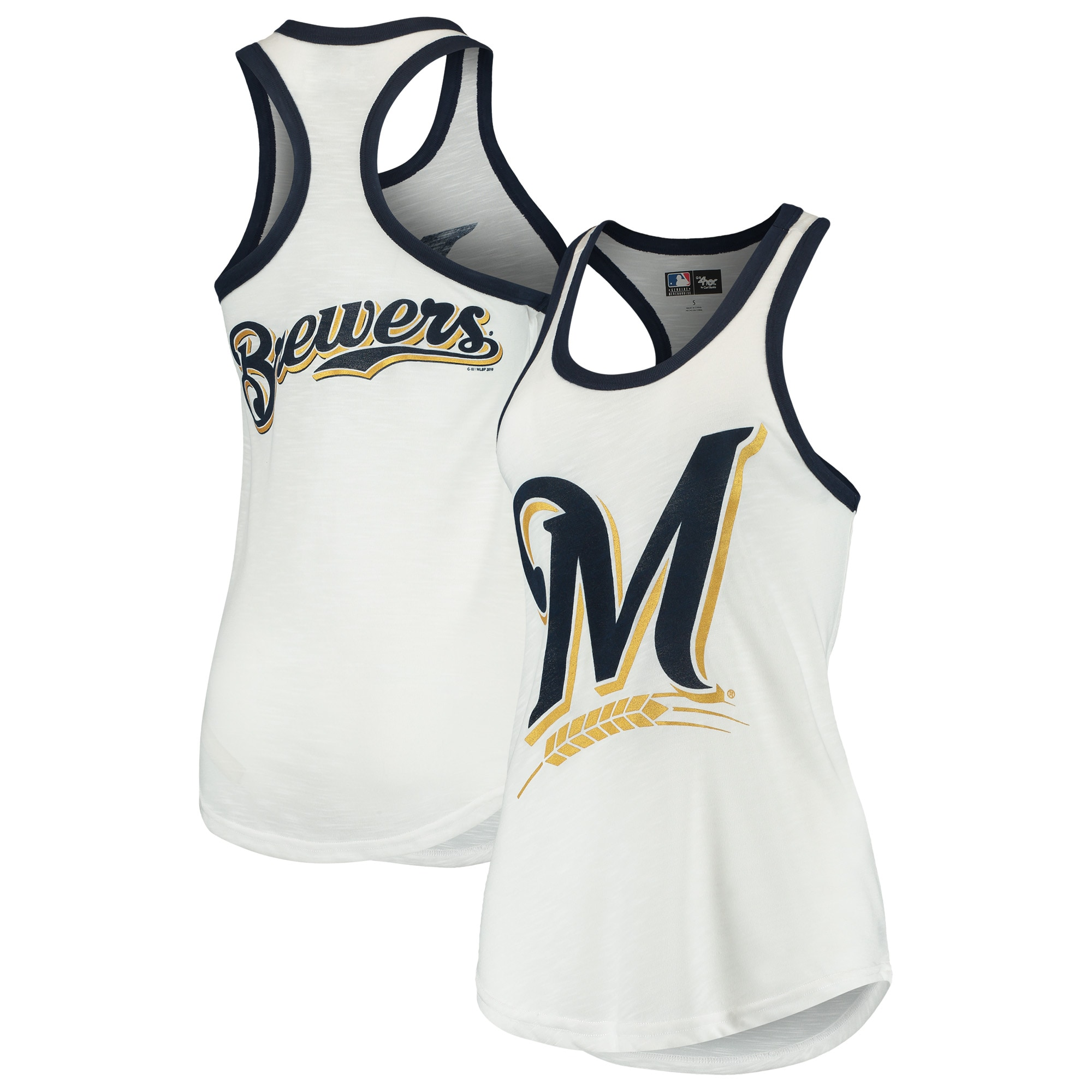 Milwaukee Brewers G-III 4Her by Carl Banks Women's Tater Racerback Tank Top - White