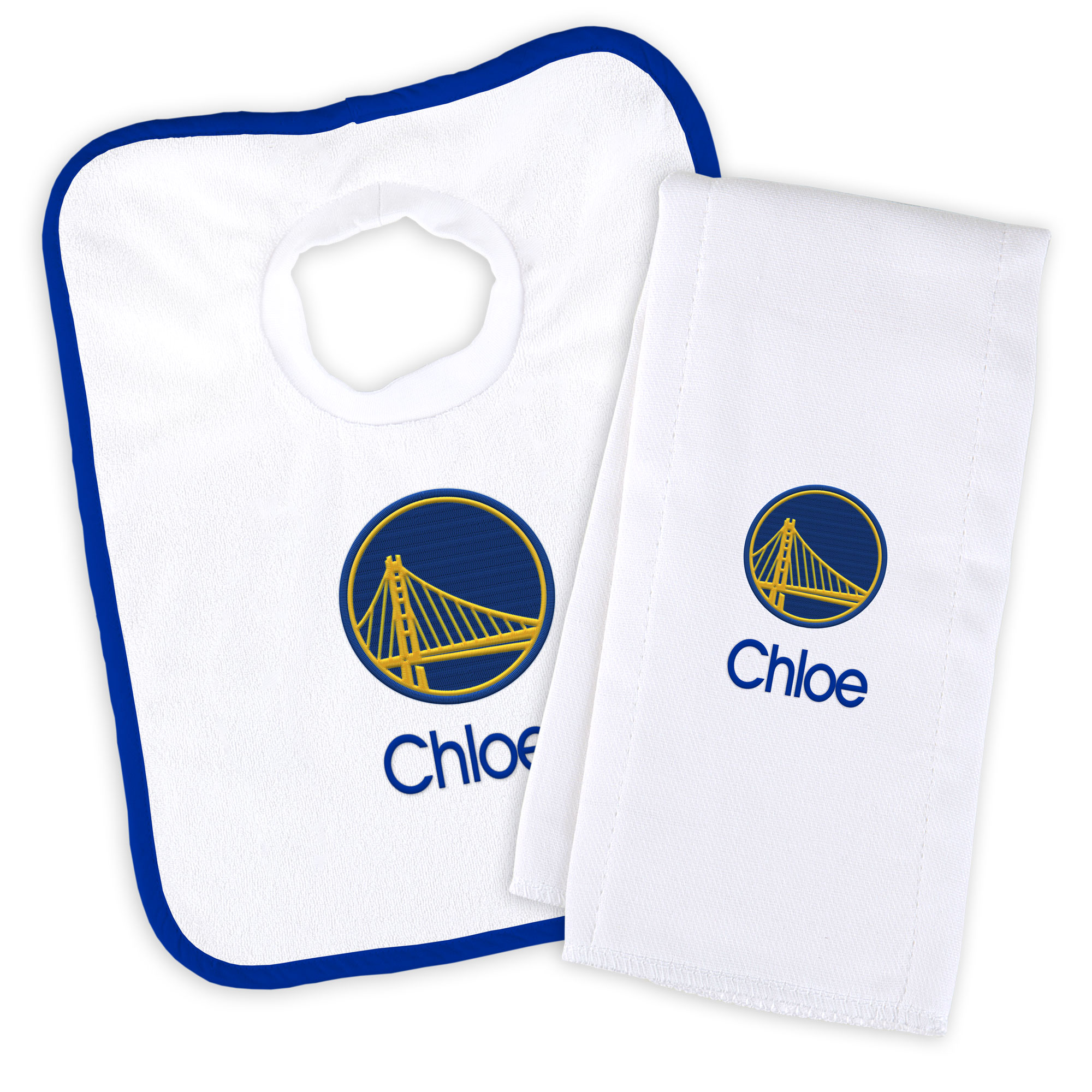 Golden State Warriors Newborn & Infant Personalized Bib & Burp Cloth Set - White