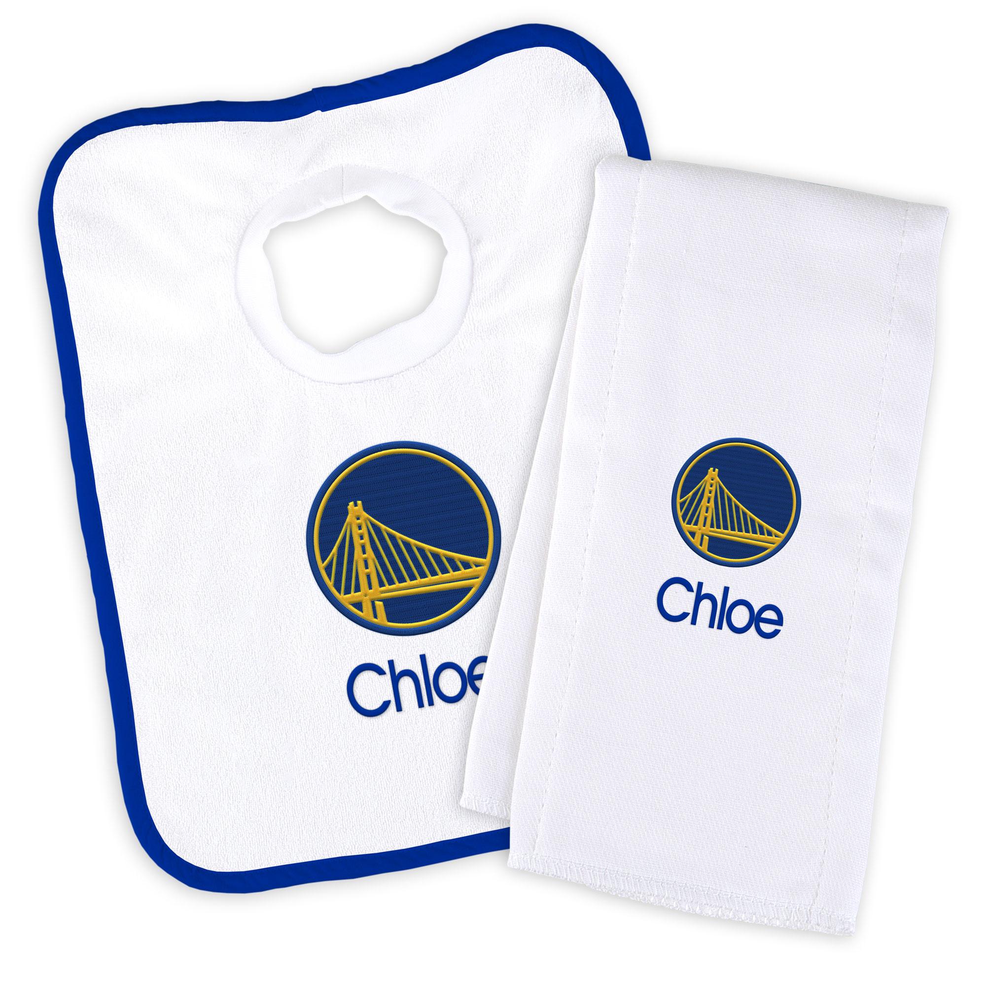 Golden State Warriors Newborn & Infant Personalized Bib & Burp Cloth Set - White