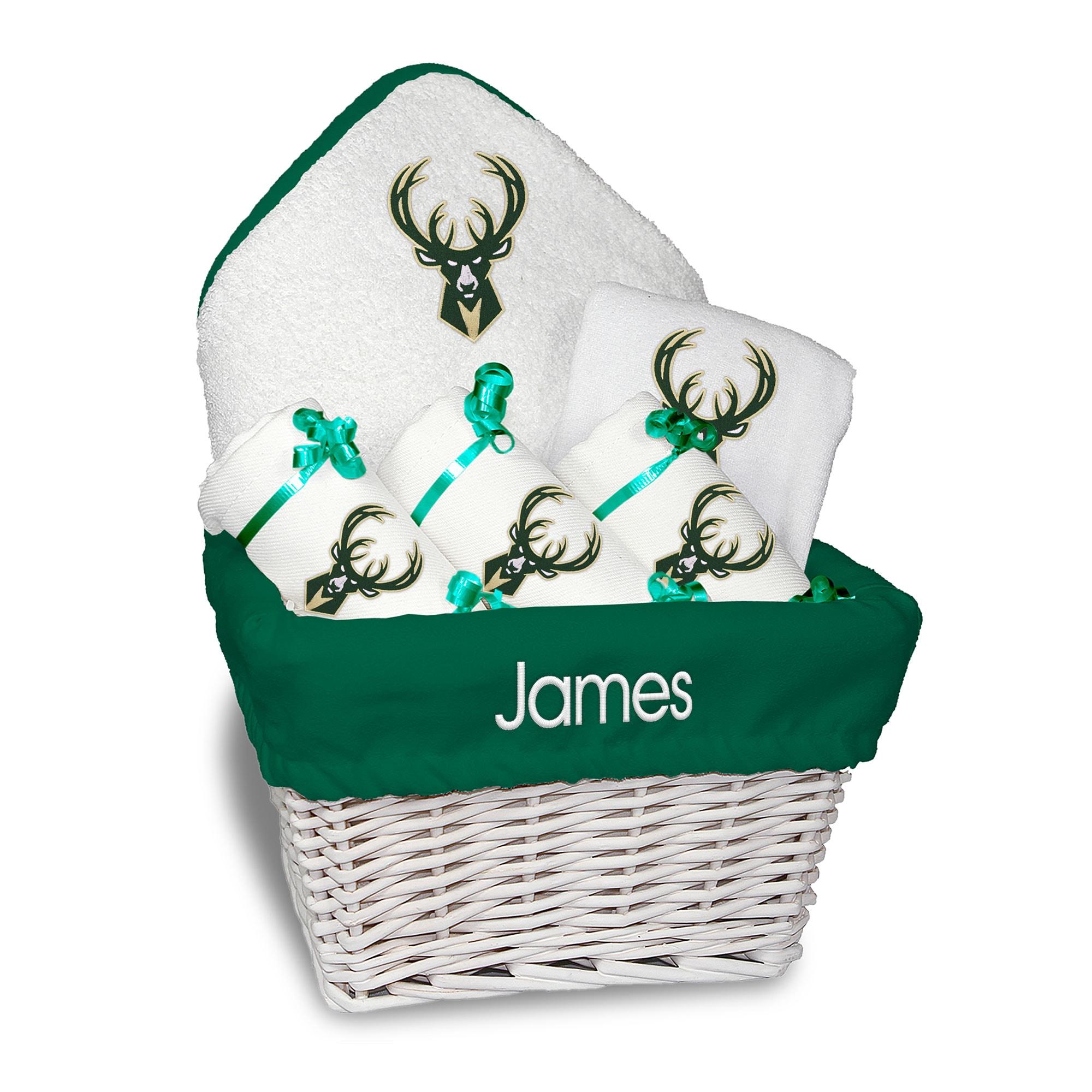 Milwaukee Bucks Newborn & Infant Personalized Medium Gift Basket - White