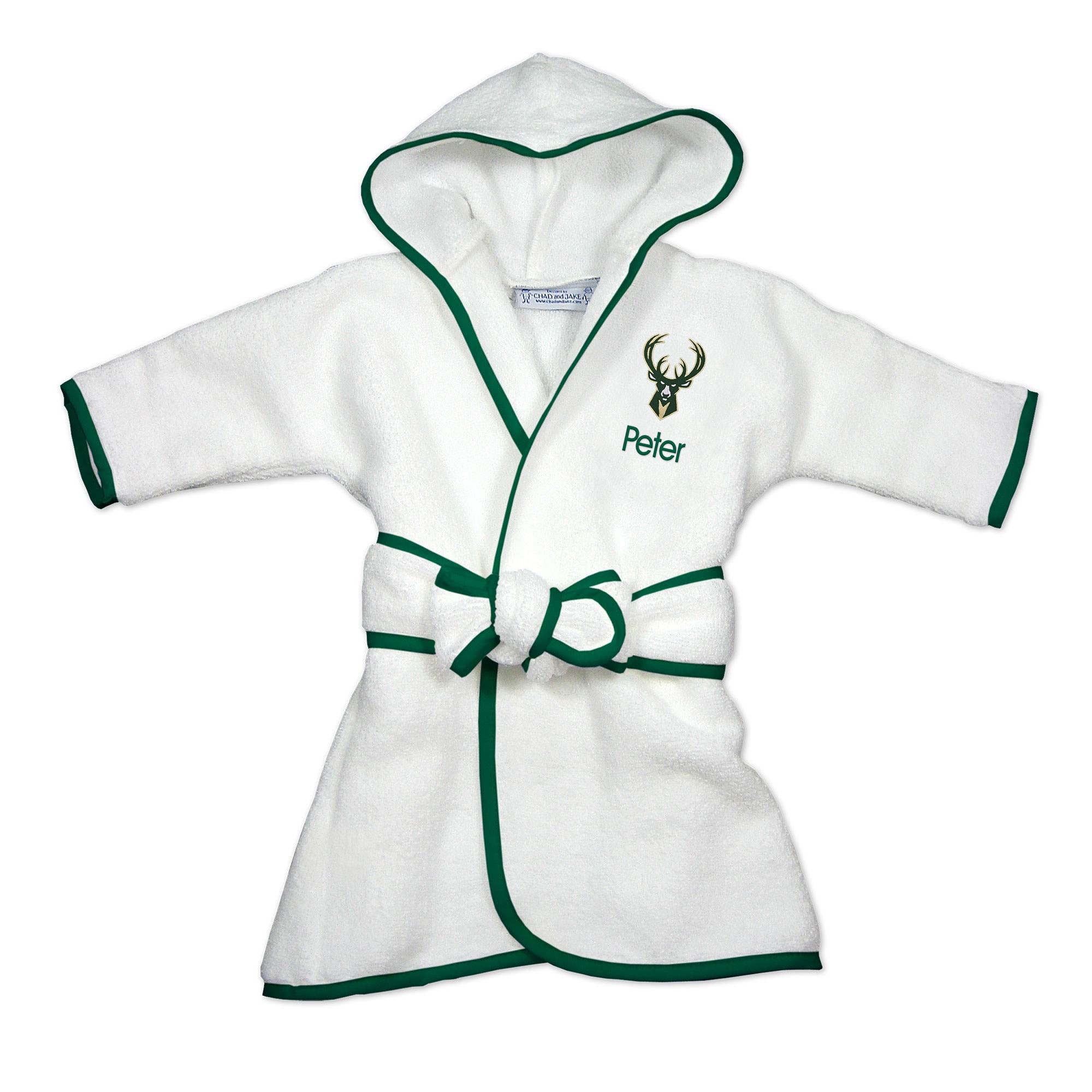 Milwaukee Bucks Infant Personalized Robe - White
