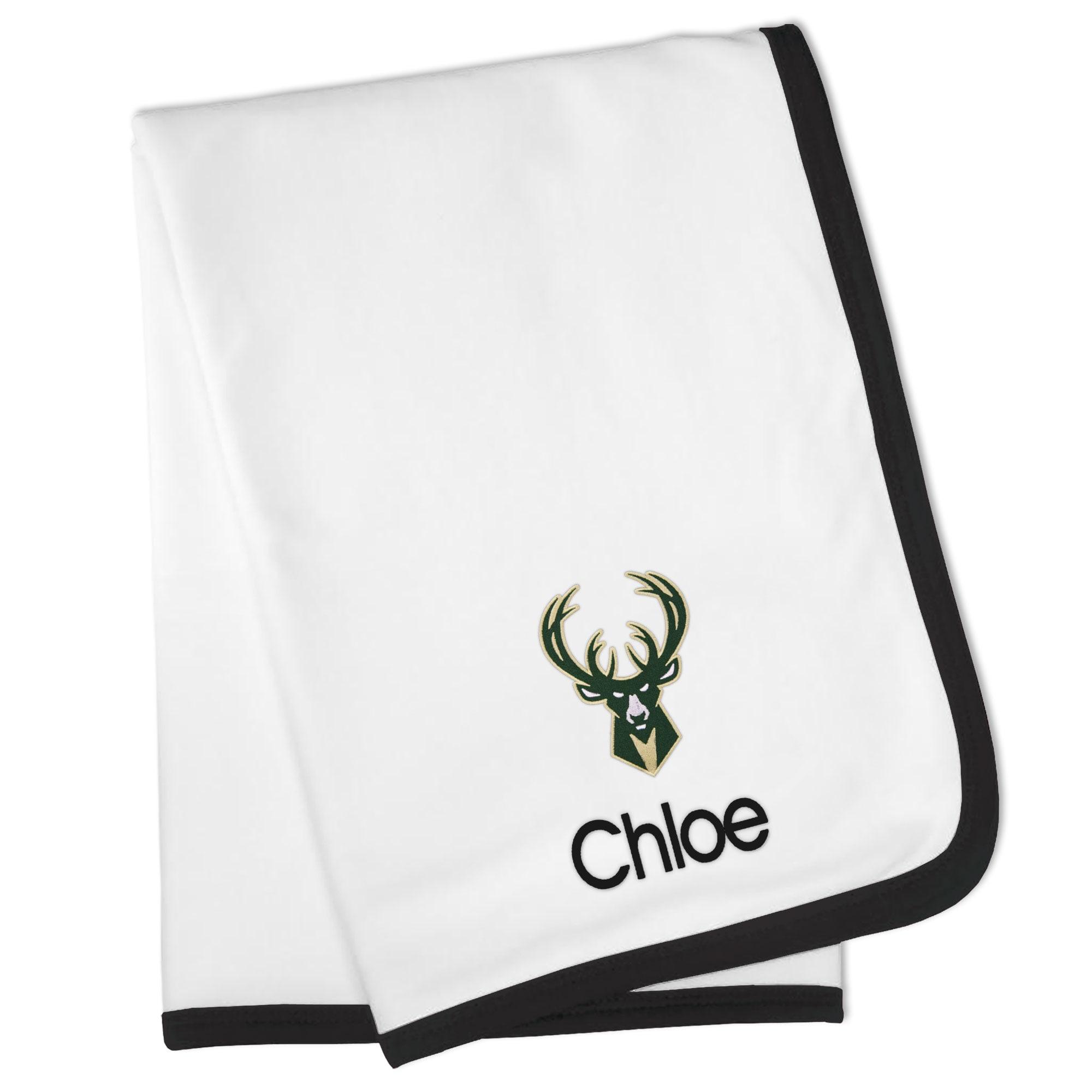 Milwaukee Bucks Personalized Baby Blanket - White