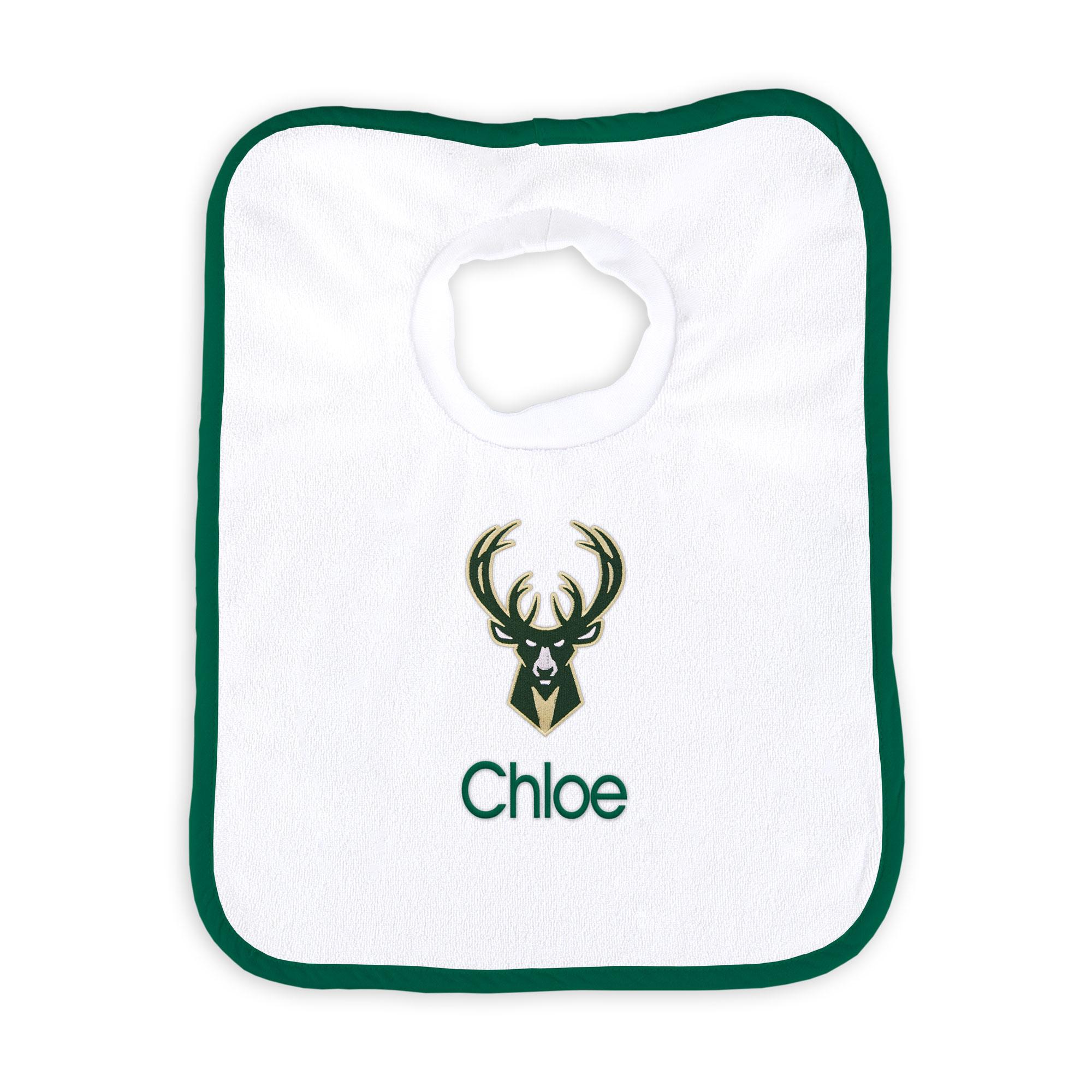 Milwaukee Bucks Newborn & Infant Personalized Bib - White