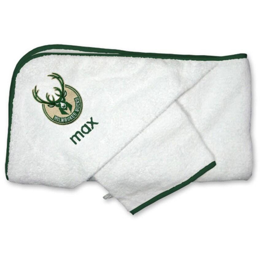 Milwaukee Bucks Infant Personalized Hooded Towel & Mitt Set - White