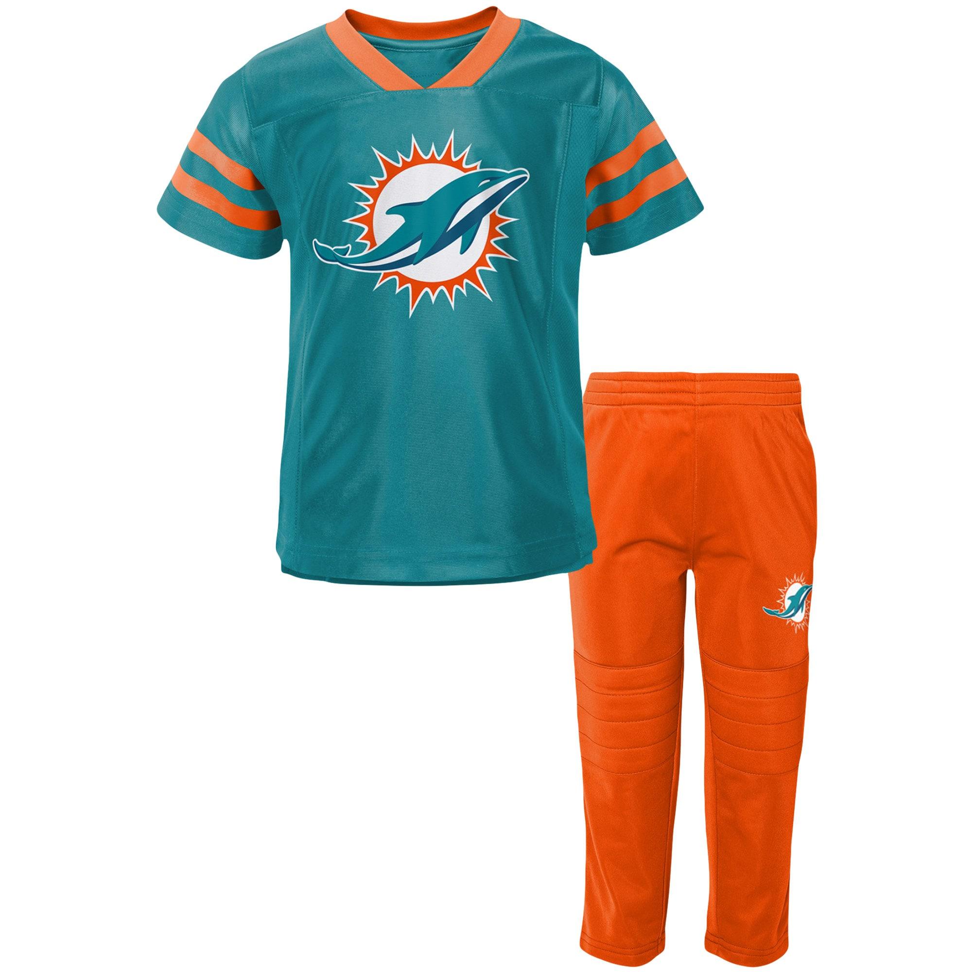 Miami Dolphins Toddler Training Camp V-Neck T-Shirt & Pants Set - Aqua/Orange
