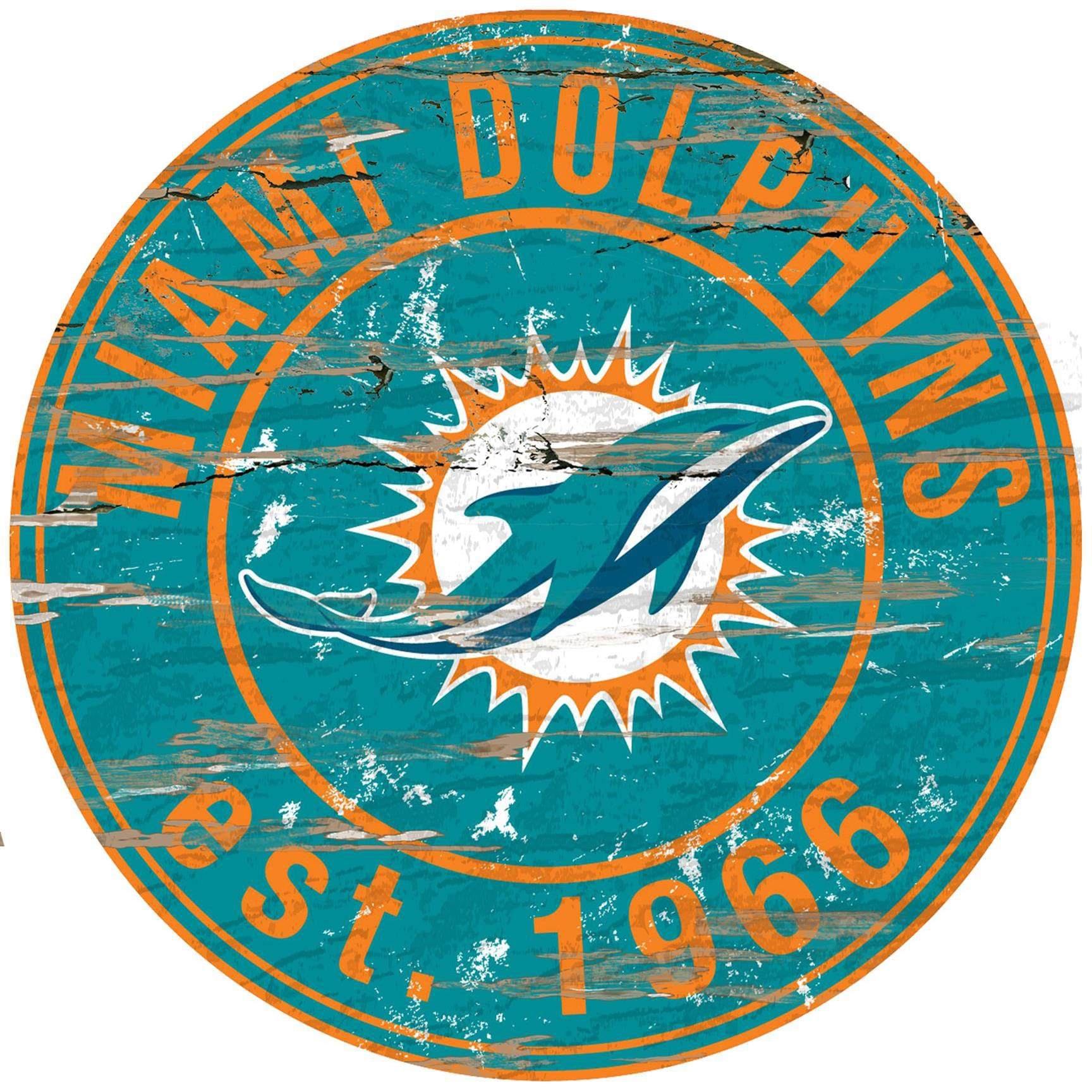 "Miami Dolphins 23.5"" Distressed Round Sign"