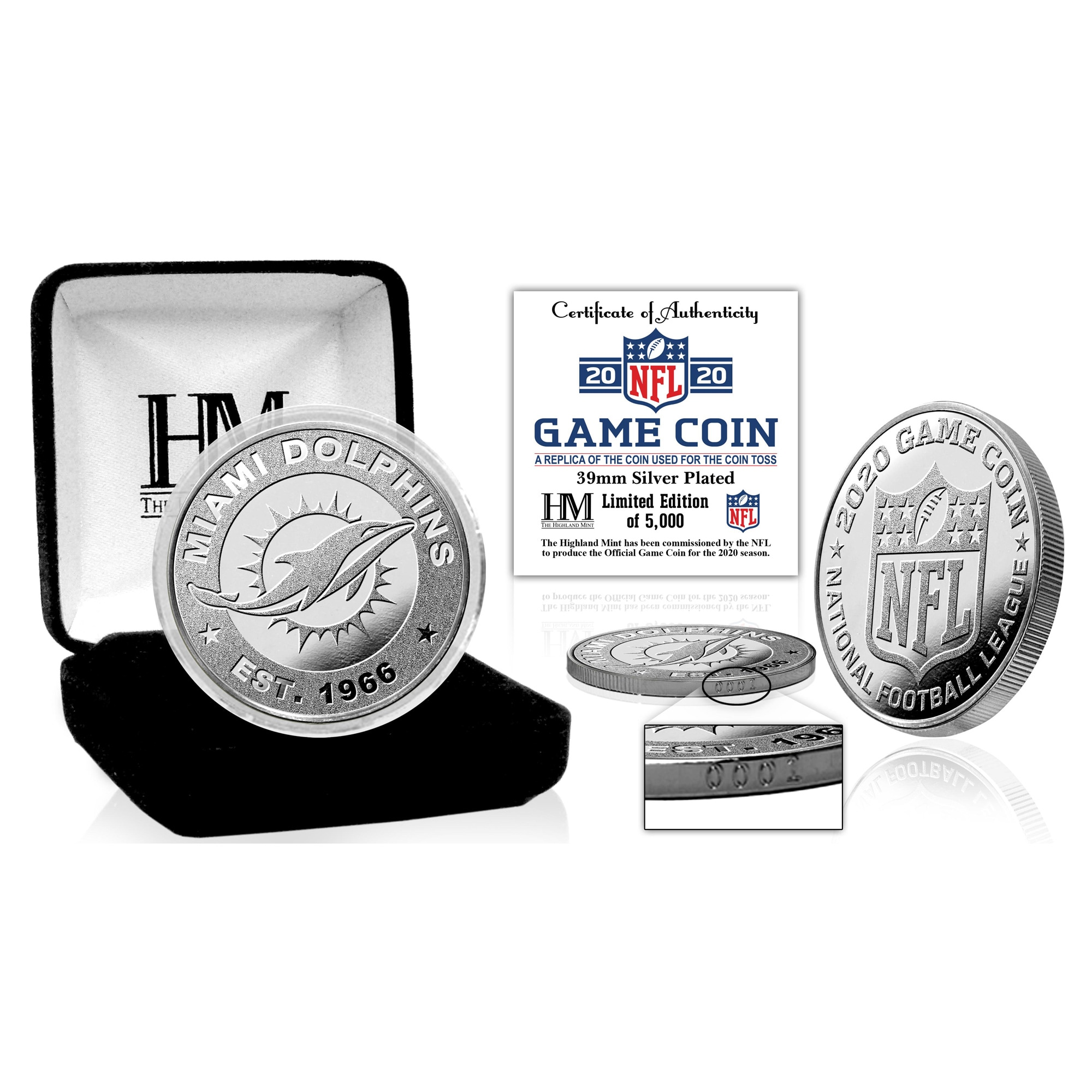 Miami Dolphins Highland Mint Silver Mint Game Flip Coin