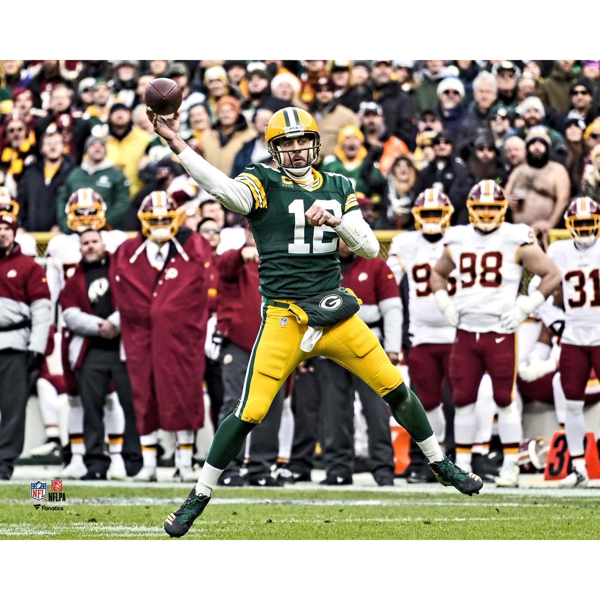 Aaron Rodgers Green Bay Packers Fanatics Authentic Unsigned Throwing vs. Washington Redskins Photograph