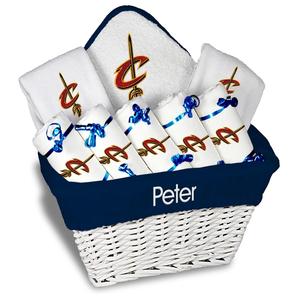 Cleveland Cavaliers Newborn & Infant Personalized Large Gift Basket - White