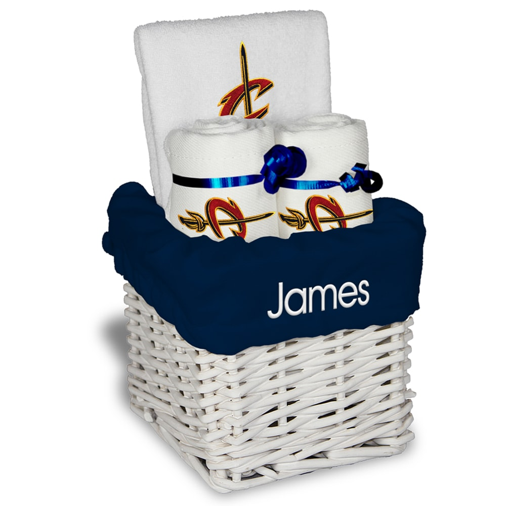 Cleveland Cavaliers Personalized Small Gift Basket - White