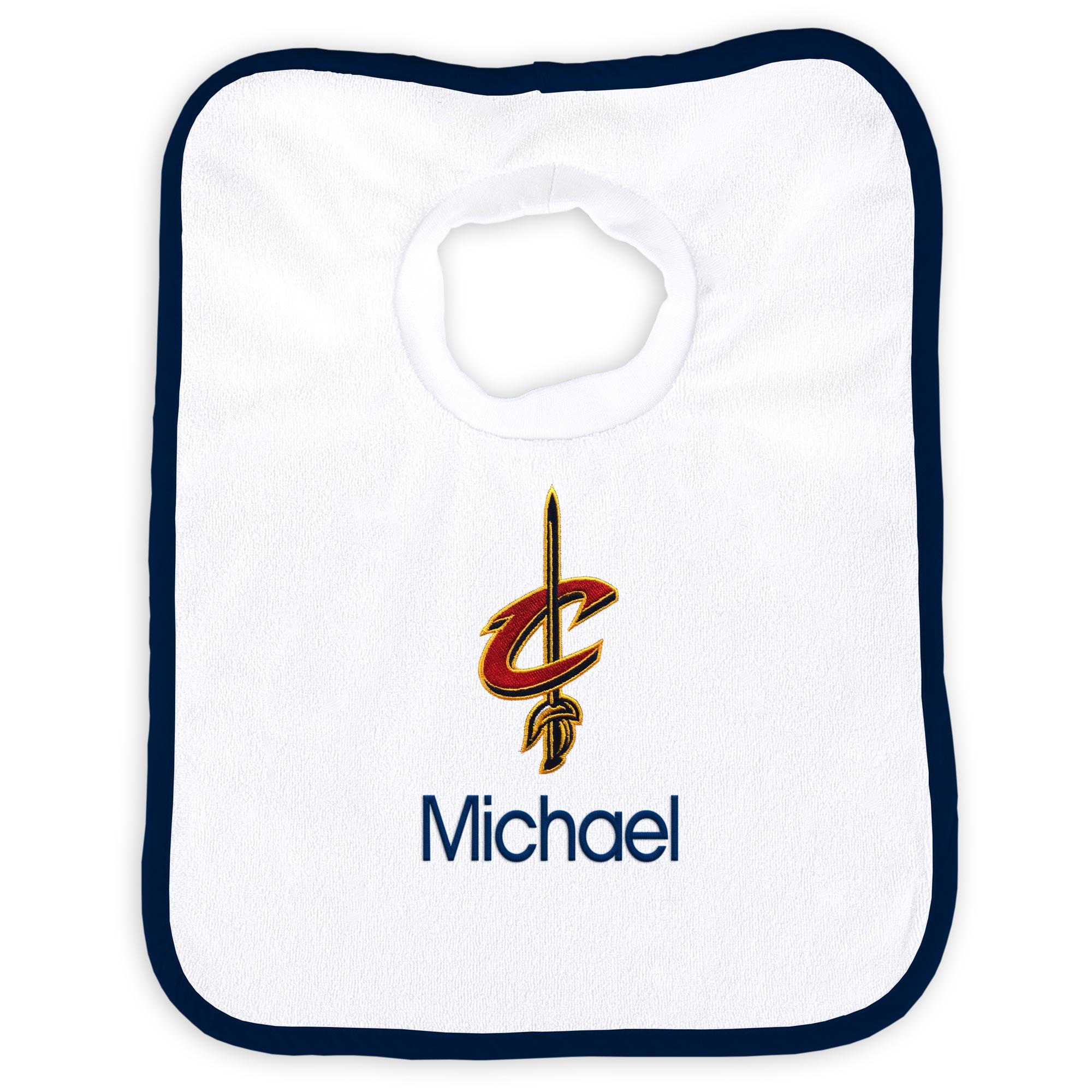 Cleveland Cavaliers Newborn & Infant Personalized Bib - White