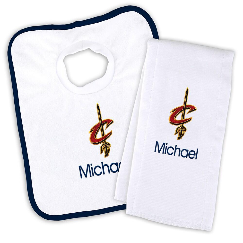 Cleveland Cavaliers Newborn & Infant Personalized Bib & Burp Cloth Set - White