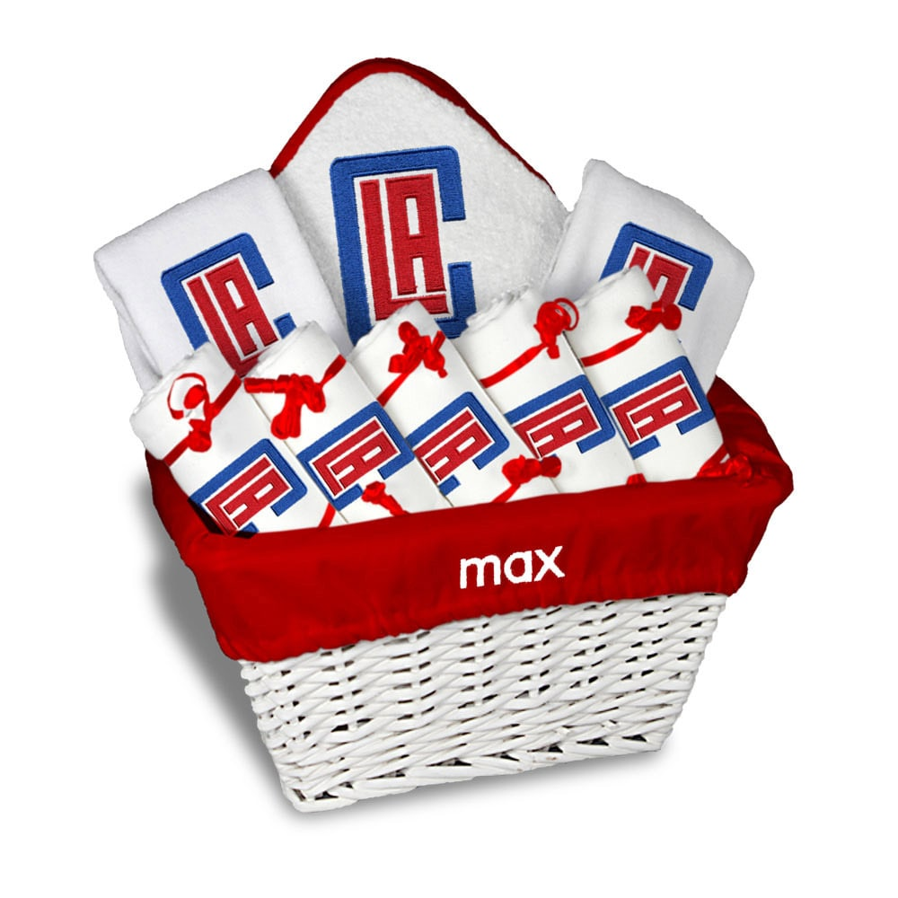 LA Clippers Newborn & Infant Personalized Large Gift Basket - White