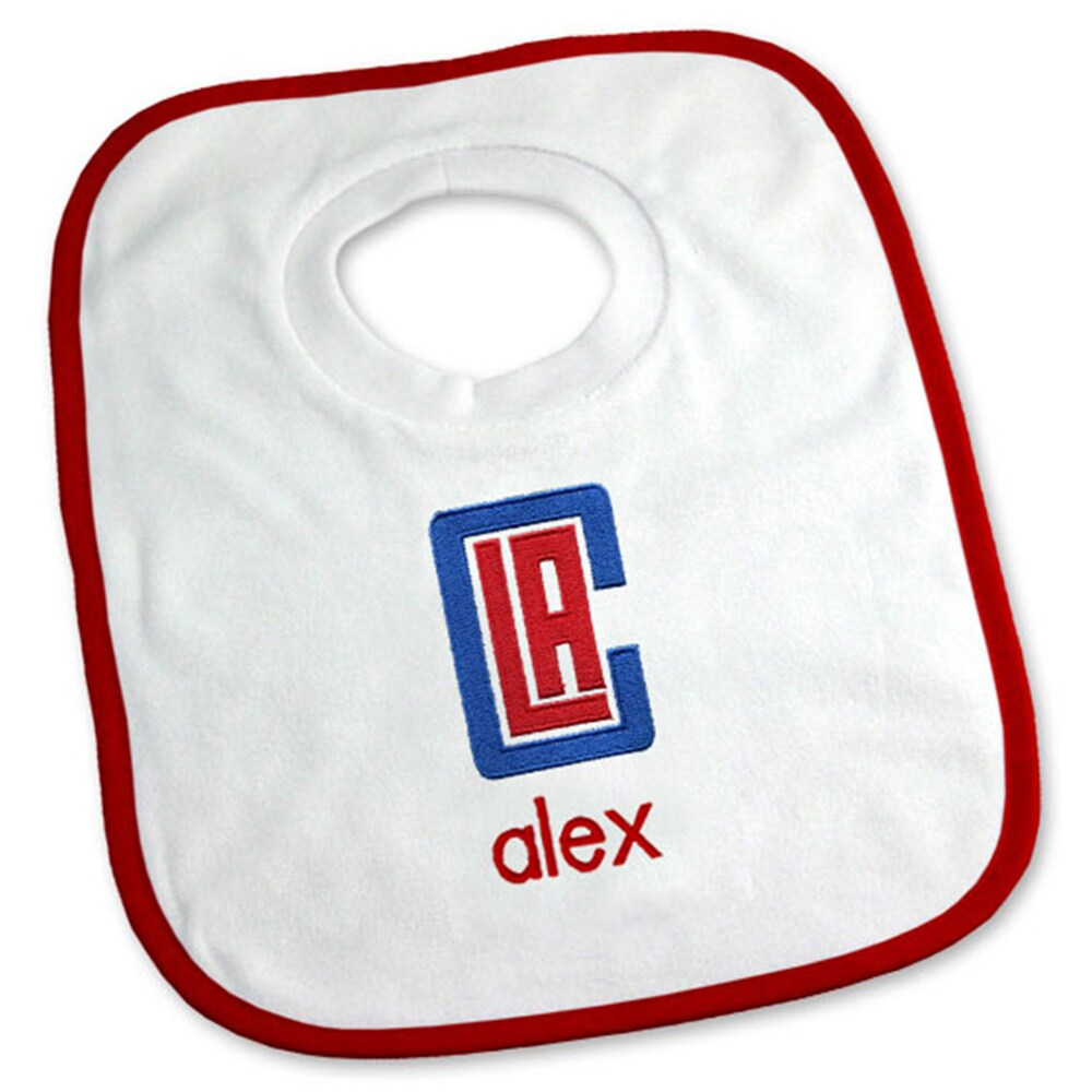 LA Clippers Newborn & Infant Personalized Bib - White