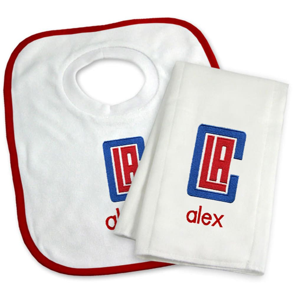 LA Clippers Newborn & Infant Personalized Bib & Burp Cloth Set - White