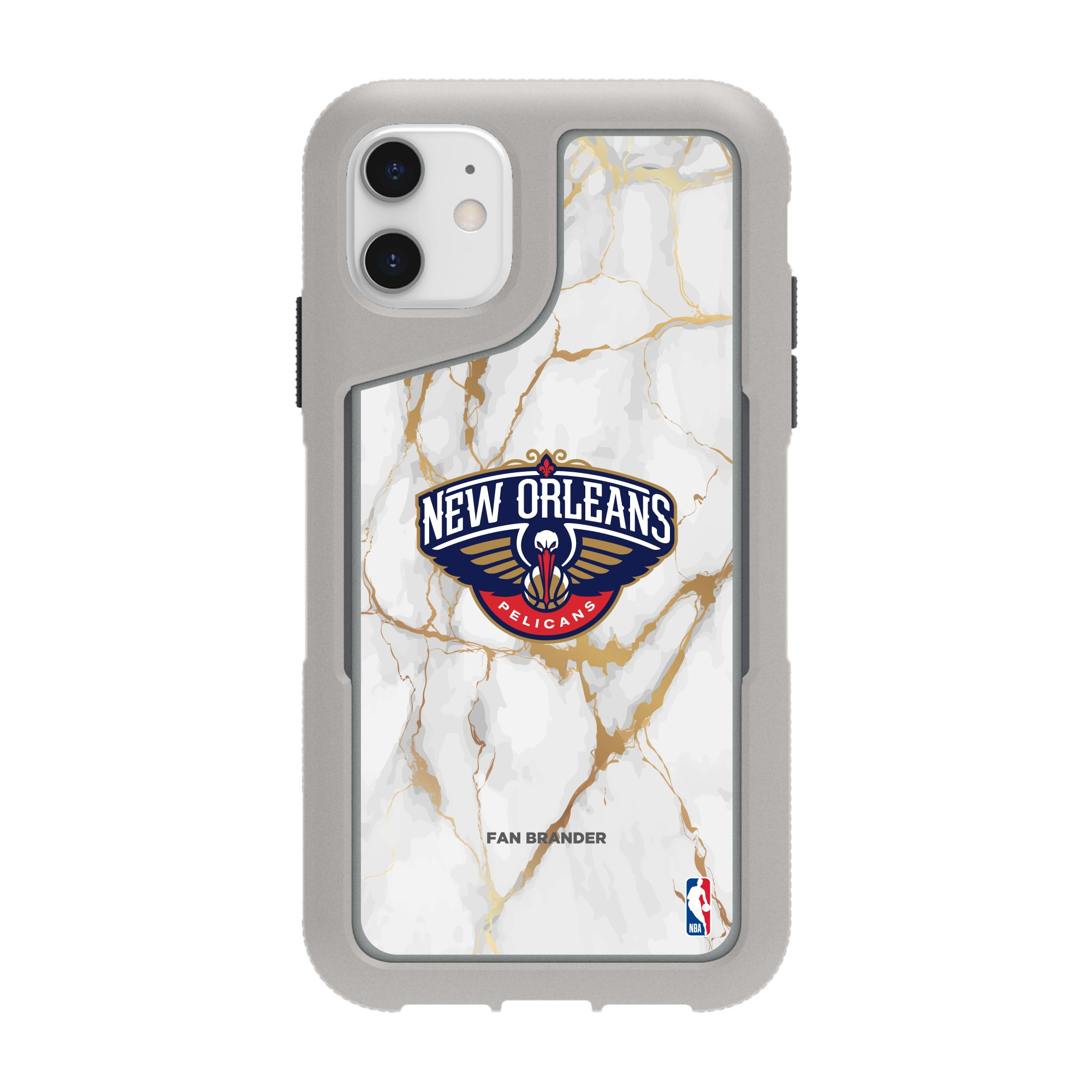 New Orleans Pelicans Griffin Survivor Endurance Marble iPhone Case - Gray