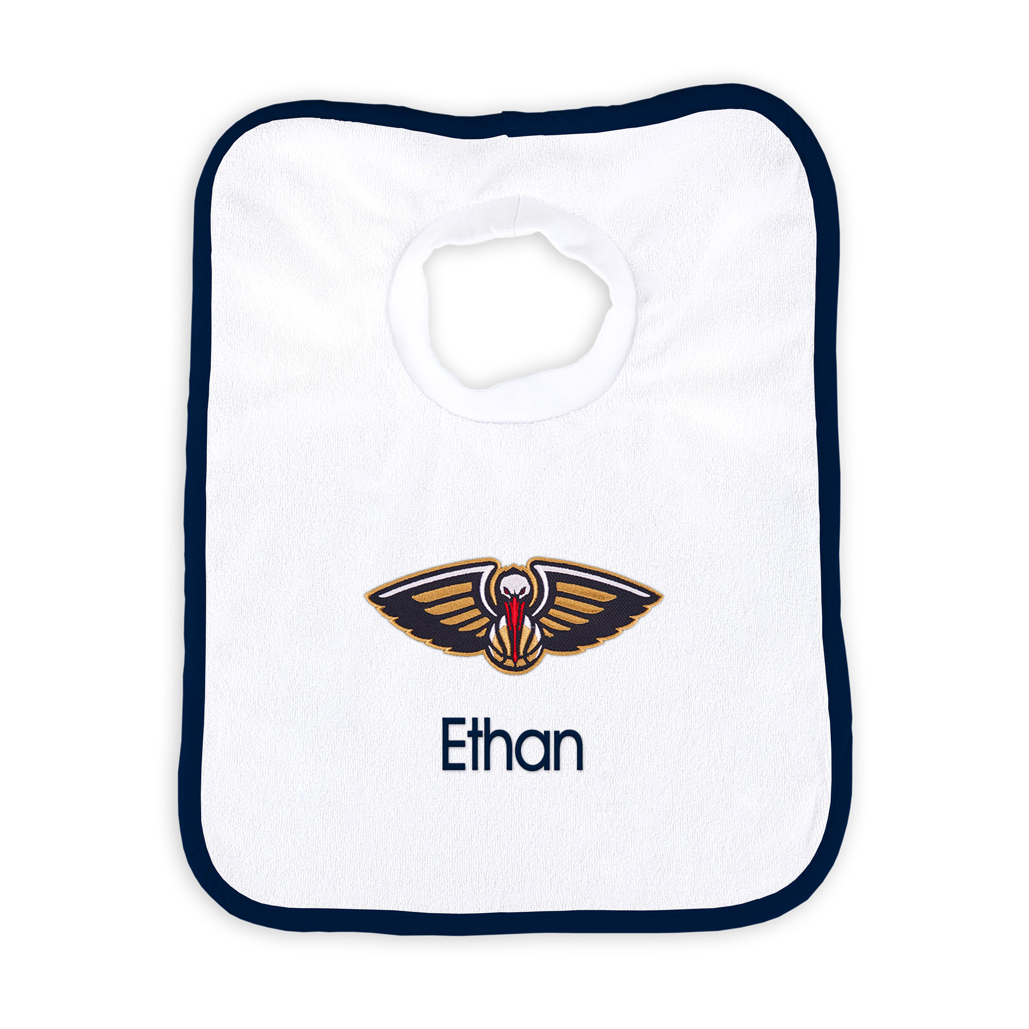 New Orleans Pelicans Newborn & Infant Personalized Bib - White