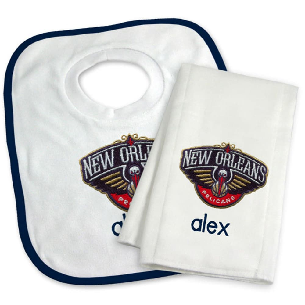 New Orleans Pelicans Newborn & Infant Personalized Bib & Burp Cloth Set - White