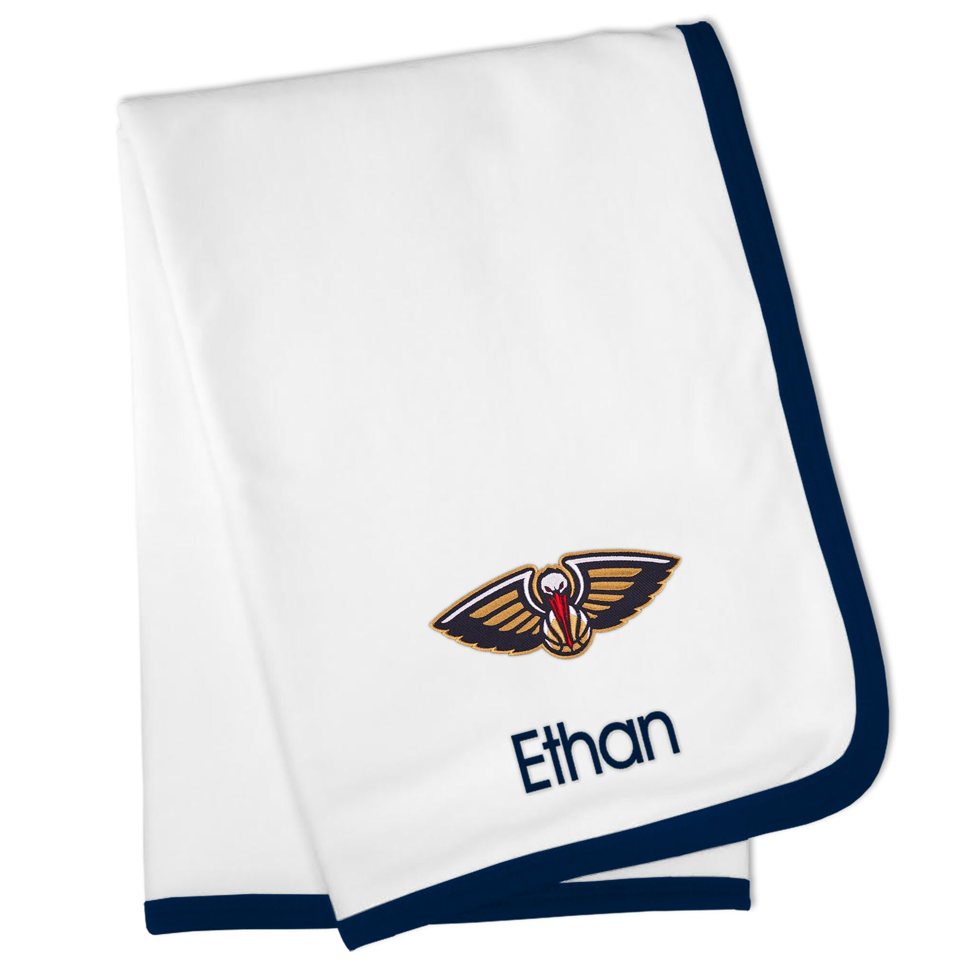 New Orleans Pelicans Personalized Baby Blanket - White