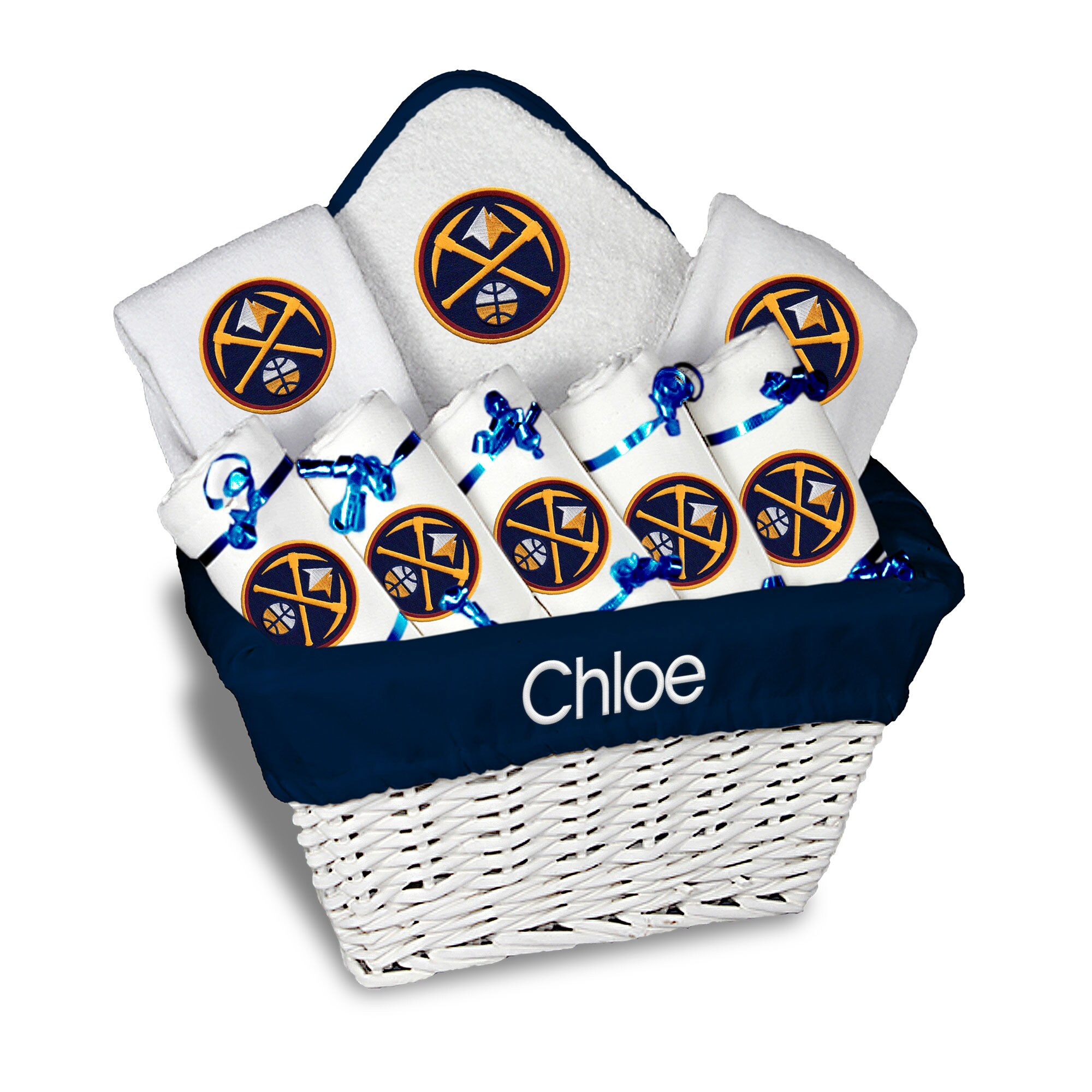 Denver Nuggets Newborn & Infant Personalized Large Gift Basket - White