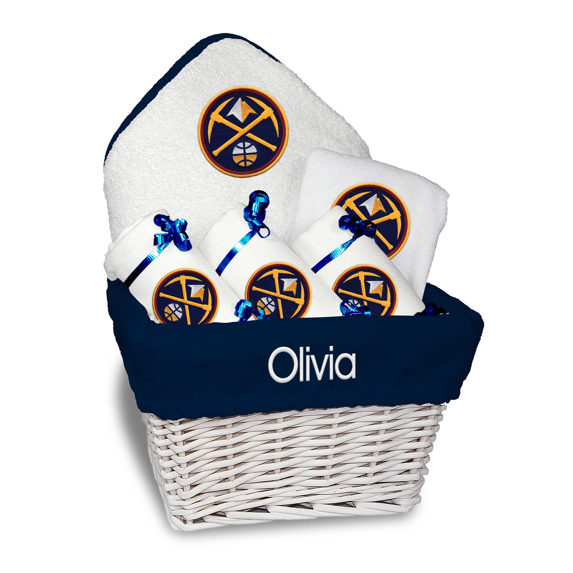 Denver Nuggets Newborn & Infant Personalized Medium Gift Basket - White