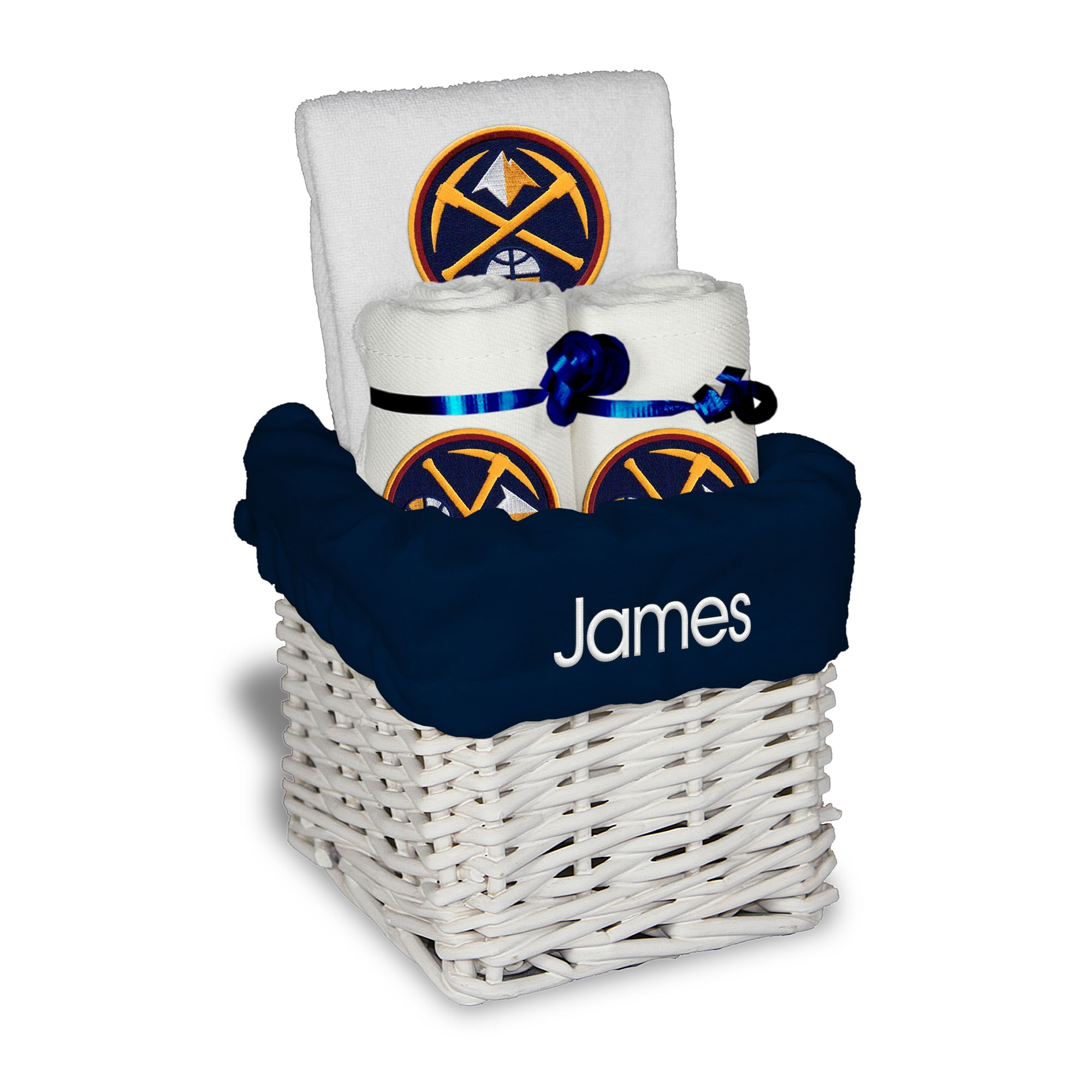 Denver Nuggets Personalized Small Gift Basket - White
